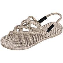 Longra Donna Scarpe da Spiaggia Corda Intrecciate Sandali di Paglia Estate  Romana 3121368dda9