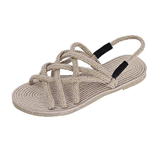 Longra Donna Scarpe da spiaggia corda intrecciate sandali di paglia estate romana (EU Size:37, Cachi)