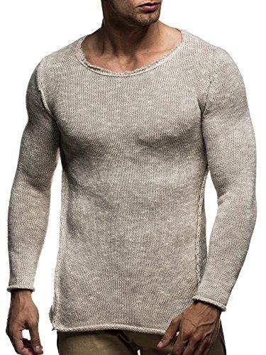 LEIF NELSON Herren Strickpullover Pullover Sweatshirt LN20709; Grš§e M, Beige