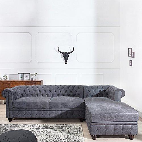CAGÜ Edler DESIGNKLASSIKER ECKSOFA [Winchester] Grau mit OTTOMANE Rechts aus Kunstleder im Klassisch ENGLISCHEN Chesterfield-Stil, Neu!
