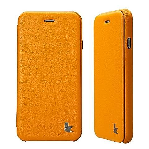 Coque iPhone 6S, Jisoncase Etui avec Rabat Housse de Protection En Cuir PU Ultra Slim Pour Apple iPhone 6 6S 4,7 pouces Folio Case Cover Fermeture Magnétique JS-IP6-32H80-FR Jaune