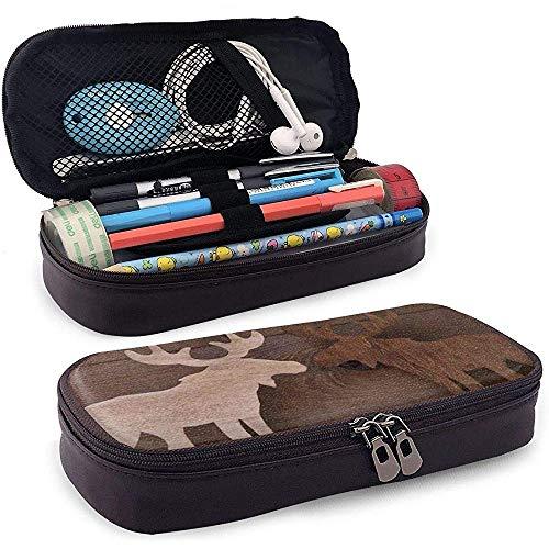 Weihnachtsdekoration Holz Elch Elch Paar auf weißem Schnee Pu Leder Bleistift Stift Tasche Beutel Fallhalter Schulbüro Kosmetik Make-up Tasche, 4X9X20 cm