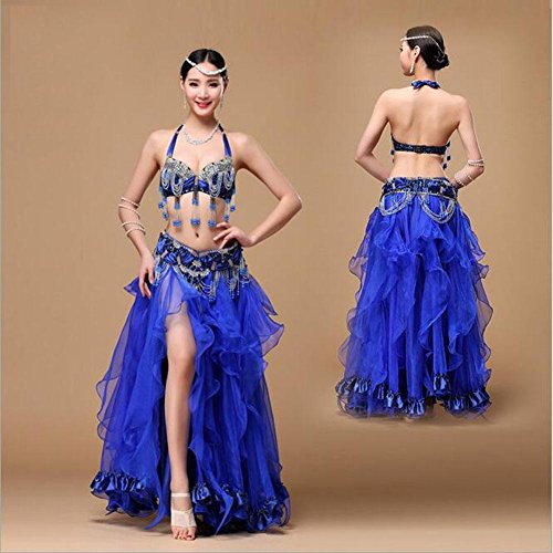 CO&CO Frauen Bauchtanz Performance Kostüm Perlen Stickerei BH The Indian Dance Dress Set , deep blue , (Kostüme Coco Dance)