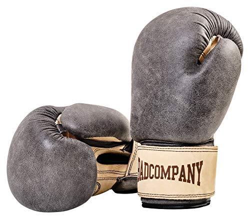 Bad Company Retro Rindsleder Boxhandschuhe mit Belüftungssystem I Boxtraining, Sparring und Wettkampf-Boxen I Gewichtsklassen 10 oz - 16 oz I 12 oz