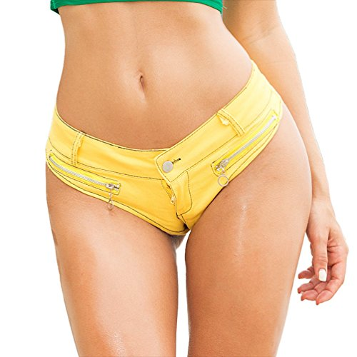 Yuanu Damen Sommer Low Waist Sexy Straight Jeans Hotpants Mode Reißverschluss Dekoration Strand Ultra-Shorts Gelb L (Jeans Ultra-low-taille)