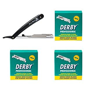Shaving Factory Rasier-Set for Barbiere, Derby Professional Single Edge Razor Blades und Shaving Factory Straight Razor