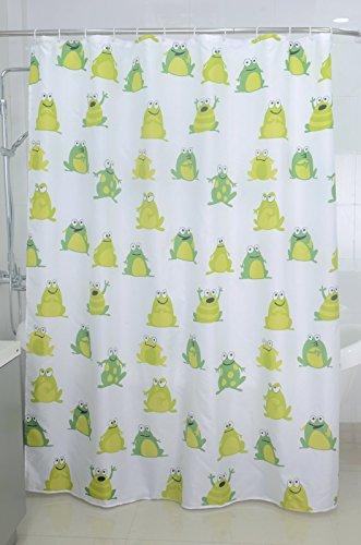 Textil Duschvorhang Badewannenvorhang Vorhang 180x200 incl. 12 Ringe-568032 Frosch