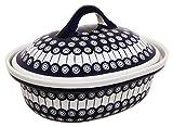 Original Bunzlauer Keramik Auflaufform mit Deckel / Bräter aus Steinzeug V= 1,2 Liter im Dekor 8