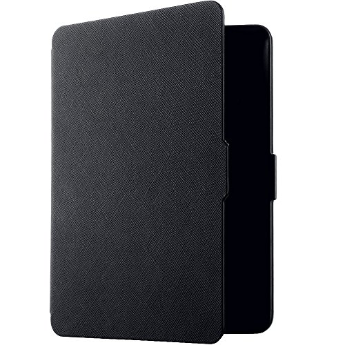 Rovtop Lederhülse für Kindle Paperwhite 1/2/3 mit Auto Wake / Sleep (2013/2014/2015) Leder Schutzhülle mit Reinigungstuch und Bildschirmschutzfolie