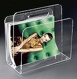 Porte-revues en acrylique haute qualité, transparent, 33 x 23 cm, H 31 cm, l'épaisseur de l'acrylique 8 / 6 mm
