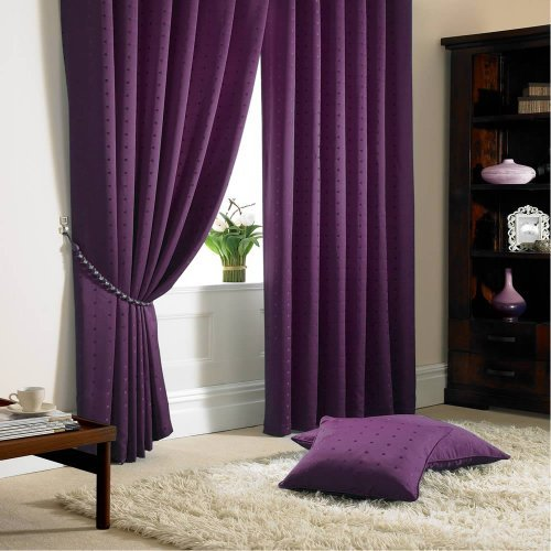 Madison Tape Top Pencil Pleat Lined Curtains Purple 90×72
