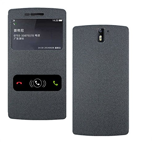 Pudini GoldSand Series Leather Flip Cover Stand Case for OnePlus One - Sparkling Black  available at amazon for Rs.248