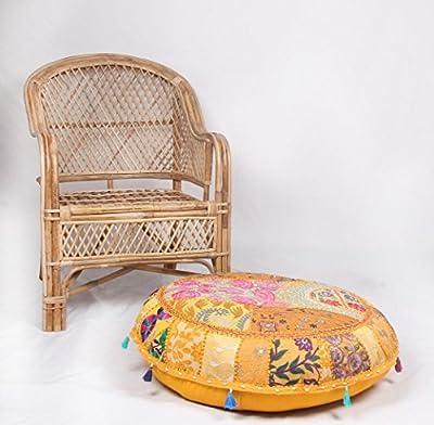 Jaipurtextilehub jth Vintage Otomano Indio Bordado Decorativo puf étnico Arte puf Infantil (tamaño: 32x 9x 32Inch)
