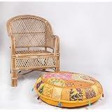 jth Vintage Otomano indio bordado decorativo puf étnico arte puf infantil (tamaño: 32x 9x 32inch)