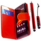 R.BAWA. Pack Containing 5 Parts. Red Leather Wallet Case For Sony Xperia M + 2 Screen Protectors + 2 Stylus Pens