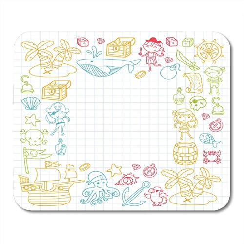 Deglogse Gaming-Mauspad-Matte, Children Playing Pirates Boys and Girls Kindergarten School Preschool Halloween Party Treasure Island Mouse Pad,Desktop Computers