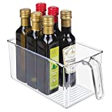 Plastic Kitchen Pantry Cabinet Refrigerator Plastic Storage Organizer Bin Holder with Handle - for Organizing Individual Packets, Snacks Food, Produce, Pasta - Food Safe - Clear