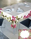 140x220 creme rosa grün amaranth magenta 100% Baumwolle Tischdecke Tischtuch ornamente Form Lotus Effekt fleckenabweisend pflegeleicht praktisch Blumenmuster Blumenmotive Modern Folk Ostern Frühling Ivory