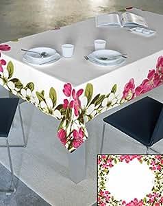 140x240 creme rosa grün amaranth magenta 100% Baumwolle Tischdecke Tischtuch ornamente Form Lotus Effekt fleckenabweisend pflegeleicht praktisch Blumenmuster Blumenmotive Modern Folk Ostern Frühling Ivory