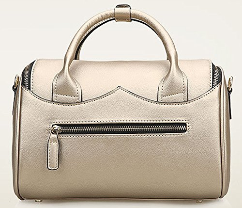 Longzibog Dual verstellbare Schultergurte und H?ngeschlaufenband Mode Simple Style Fashion Tote Top Handle Schulter Umh?ngetasche Satchel Silber