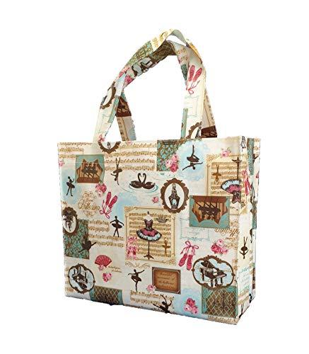 SturdyFoot klein Büchertasche, Lunchbox, Tragetasche, Einkaufstasche, Sporttasche, Wachstuch Tragetasche, wasserdicht PVC beschichtet, Tote Tasche -Ballerina Musik -