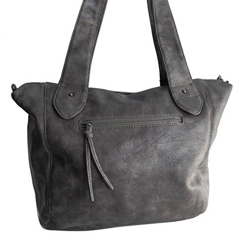 Jennifer Jones elegante alla moda bella borsa a tracolla da donna borsa a mano borsa a tracolla–präsentiert von ZMOKA® in diversi stili Colori, Schwarz Metalleffekt (nero) - 0 Grau Metalleffekt