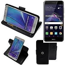 360° Funda Smartphone para Huawei P8 Lite 2017 Dual SIM, negro | Función de stand Caso Monedero BookStyle mejor precio, mejor funcionamiento - K-S-Trade