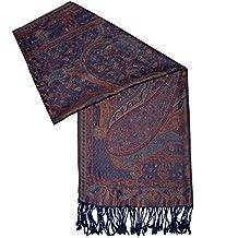 Tuch Seide rot Paisley 100x100cm Stola Halstuch Seidenschal Indien