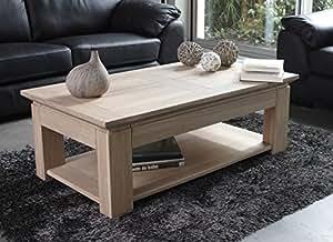 "Table basse chêne massif ""Stockholm blanchi"" 120cm Meuble House"