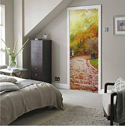 rbst Wald Sonne Glanz 3D Goldenen Tür Wandaufkleber Dekoration AufkleberWandwandaufkleber77X200cm ()