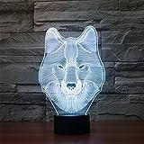 Weihnachten Valentinstag Hochzeit und Geburtstag Geschenke 3D-Tabelle Touch Lampe 7 bunte Farbe ändern Nachtlicht für Kinder und Kids Wolf