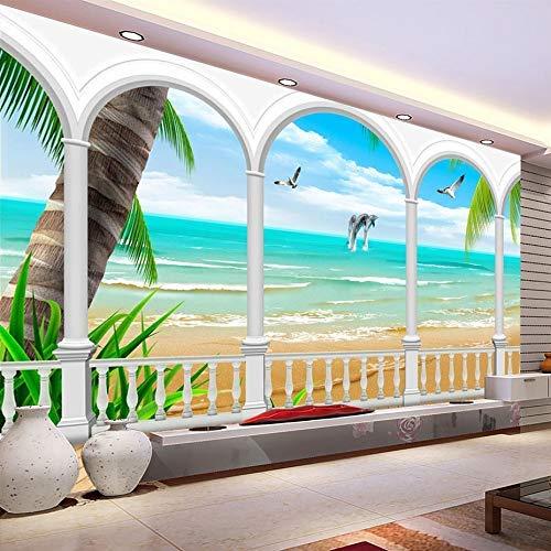 GONGFF Carta da Parati Fotografica murale 3D Seascape Dolphin Seagull Beach Mural Window View Living Room Entrare Sofa Wall Papers