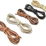 Vancool 2mm x 2m cordón de cuero cordón de ante para collar de pulsera rebordear joyería DIY Artesanía hecho a mano, 5 piezas, 5 colores