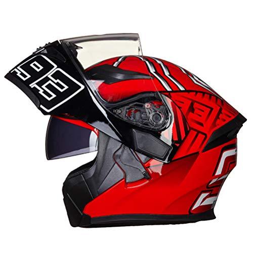 Off-Road Moto Motocicleta Casquillo abatible Unisex Adultos Antiincrustante Doble Lente Cascos integrales...
