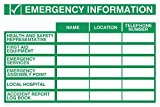 Viking segni sx470-a4l-1m informazioni di emergenza 'Nome, location, numero di telefono' Sign, 1mm in plastica semirigida, 200mm altezza x 300mm larghezza