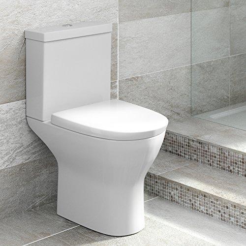 Modernes Safran Semi Flush zu Wand-Pfanne und Spülkasten-WC mit Softclose-Sitz Badezimmer WC–glänzend weißes Finish (Safran Kollektion)