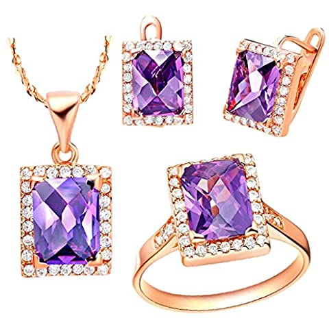 AnaZoz Fashion Jewelry Simple Personality Rose Gold Plated Women Jewelry Set (Necklace Earring Ring Set) Rectangle Purple Crystal UK Size R