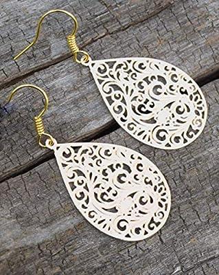Boucles d'oreilles orientales dorés filgranés, clips orientales dorés filgranés