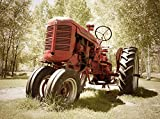Fototapete Alter Traktor 350cm Breit x 260cm Hoch Vlies Tapete Wandtapete - Tapete - Moderne Wanddeko - Wandbilder - Fotogeschenke - Wand Dekoration wandmotiv24