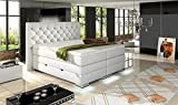 HG Royal Estates GmbH MAILAND Boxspringbett mit Bettkasten Designer Boxspring Bett Chesterfield LED WEISS - 180 x 200 cm