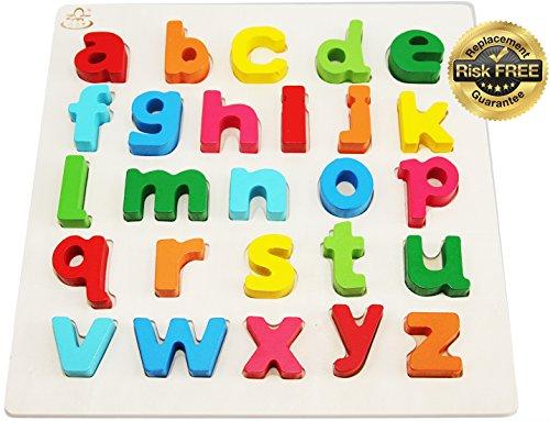 EasY Kid's ToY Holzpuzzle mit Kleinen Bunten Buchstaben, Bestes Holzspielzeug für Spielerisches Lernen des Alphabet Motorikspielzeug ab 2 Jahre Legespiel Geschenk für Kinder, Rahmenpuzzle für Spiel Spass Freude
