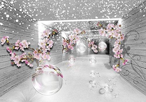 FORWALL Fototapete Vlies Tapete Moderne Wanddeko 3D Magischer Tunnel mit Blumen V8 (368cm. x 254cm.) AMF3360V8