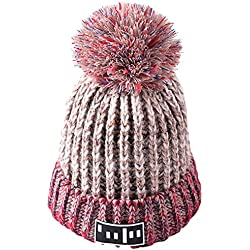 fablcrew mujeres Beanie gorro de punto con pompón gorro de lana para Snowboard gorro de sombreros, beige, 54-58 cm