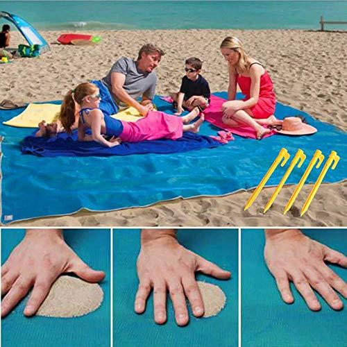 Sandfreie Stranddecke Matten, JanTeel Tragbarer wasserdichter Sand Loser Teppich mit 4 Ankern, schnell trocknender Magic Dirt Dust Proof für Outdoor-Strandpicknick-Camping (Blau Groß - 200 x 200cm) -