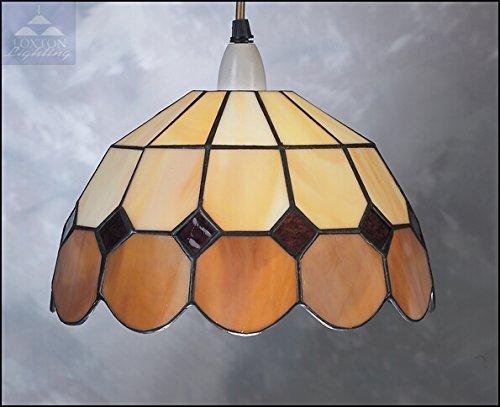 Bistro-Lampenschirm, 25cm, Beige, Buntglas, von Tiffany (BR2) -