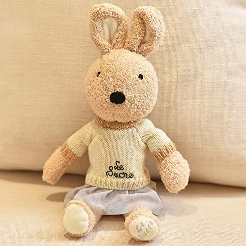 DONGER Niedliche Kaninchen-Puppe Spielzeug Paar Spielzeug Kaninchen Puppe Baby Komfort Schlaf Kaninchen Puppe, Grauen Rock des Braunen Pullover Kaffee-Kaninchen, 60 cm -