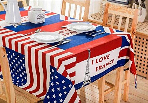 YYHSO 100% Coton Patriotique Drapeau des Etats Unis Décorations Décoration Nappe Tour de motif de personnalité J'aime la France Tissu imperméable à l'eau , 90*90cm