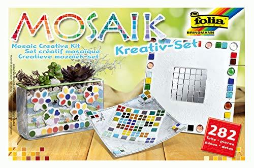 folia 575720 - Mosaik Kreativ Set, 282 Teile, mit Bastelanleitung für 3 verschiedene Objekte
