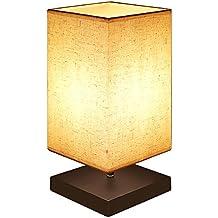 B Right Holz Tischlampe Tischleuchte Retro Holz Und Stoffschirm  Nachttischlampe, LED Nachtlicht Für Schlafzimmer