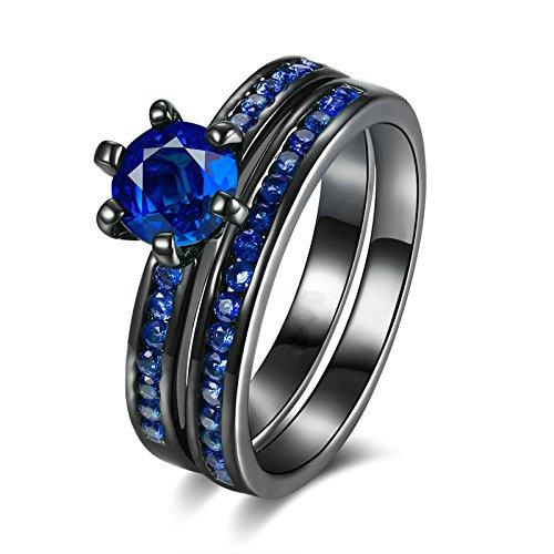 Bishilin Vergoldet Ring für Frauen Blau Zirkonia Zwei Tone Solitärring Ehering Verlobungsring Schwarzring Größe49 (15.6)